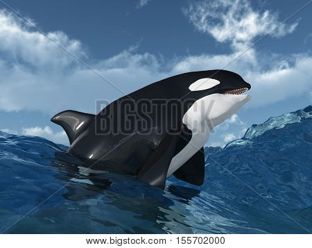 Computer generated 3D illustration with a killer whale in the stormy ocean