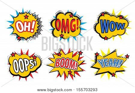Set comic stickers retro style. Set comic stickers icons isolated on white background. Set pop art stickers comic style design element. Vector illustration