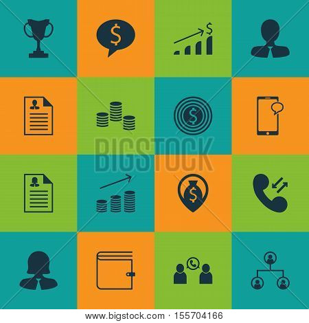 Set Of Hr Icons On Business Woman, Cellular Data And Curriculum Vitae Topics. Editable Vector Illust