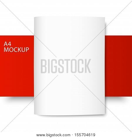 Vector A4 mockup isolated on red and white background. Red Line series. Ready for your design.