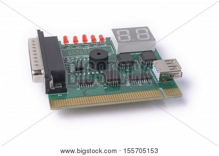 PCI device for testing of motherboards on a white background PC Diagnostics