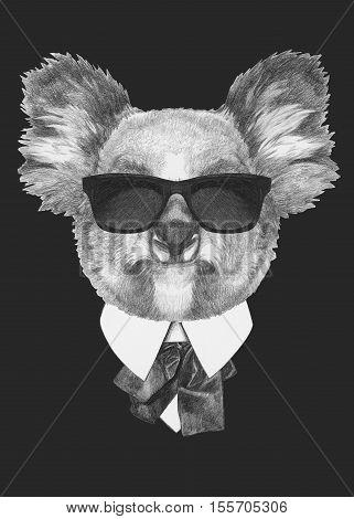 Portrait of Koala in suit. Hand drawn illustration.