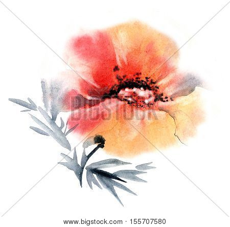 Watercolor and ink illustration of flower in style sumi-e u-sin.