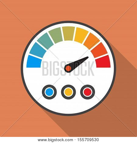 Speedometer icon with long shadow in a flat design