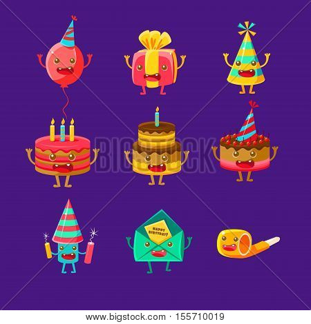 Happy Birthday And Celebration Party Symbols Cartoon Characters, Including Birthday Cake, Party Hat, Balloon, Party Horn And Fireworks. Colorful Humanized Birthday Party Associated Elements With Arms And Legs.