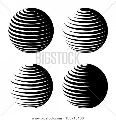 rotating sphere speed lines symbol vector