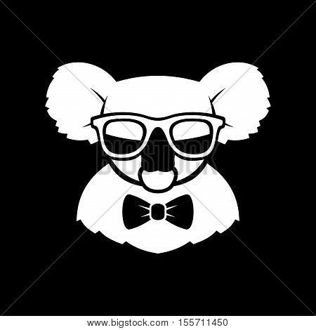 Hipster Cute Koala in Glasses and Bow Tie. Simple Logo Sign. Vector illustration