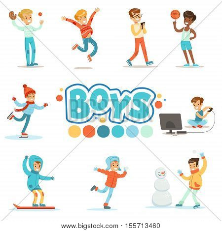 Happy Boys And Their Expected Normal Behavior With Active Games And Sport Practices Set Of Traditional Male Kid Role Illustrations. Collection Of Smiling Teenage Boys And Their Interests Vector Flat Illustrations.