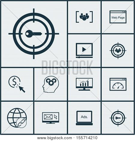 Set Of Marketing Icons On Market Research, Questionnaire And Ppc Topics. Editable Vector Illustratio