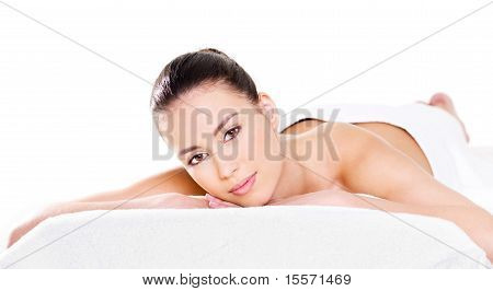 Woman Relaxing On Pillow