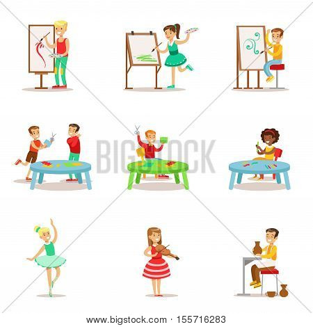 Creative Children Practicing Different Arts And Crafts In Art Class And By Themselves Set Of Kids And Creativity Themed Illustrations. Flat Cartoon Vector Drawings With Scholars Demonstrating Pottery, Dance, Singing, Painting And Other Creative Skills