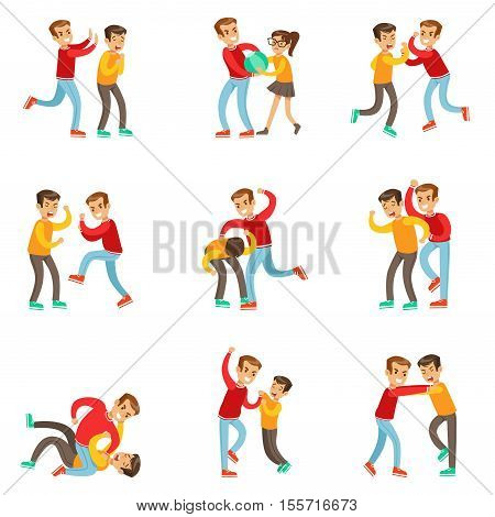 A Bully Oppressing And Bullying Other Kids With The Victims Fighting Back Or Loosing The Fight Being Beaten Up By Stronger Boy. Set Of Flat Vector Teenage Aggression And Conflict Resulting In Street Fight Illustrations.