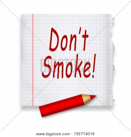 No smoking handwritten caution by red pencil