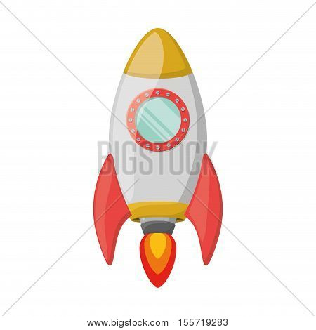 silhouette spaceship with wake of fire vector illustration