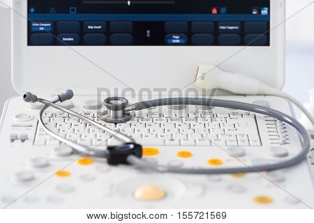 modern ultrasound machine with a variety of sensors for inspection of all organs of the human body