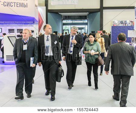 St. Petersburg, Russia - 4 October, People belonging to the forum, 4 October, 2016. Petersburg Gas Forum which takes place in Expoforum.