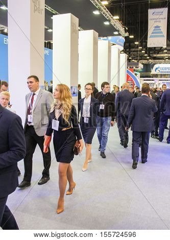 St. Petersburg, Russia - 4 October, Business woman on the Gas Forum, 4 October, 2016. Petersburg Gas Forum which takes place in Expoforum.