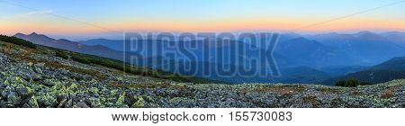 Summer Sunrise Mountain Panorama (carpathian, Ukraine).