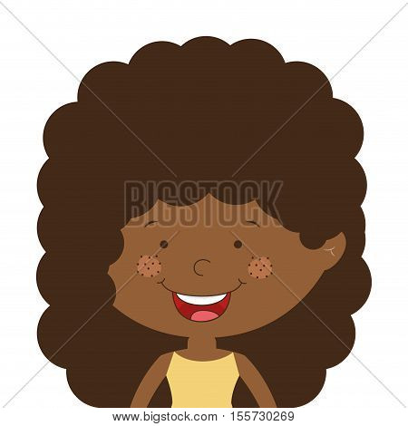 silhouette half body afro girl with curly hair vector illustration