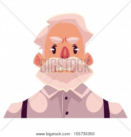 Grey haired old man face, angry facial expression cartoon vector illustrations isolated on background. Old man, grandfather frowns, feeling distresses, frustrated, sullen, upset. Angry face expression