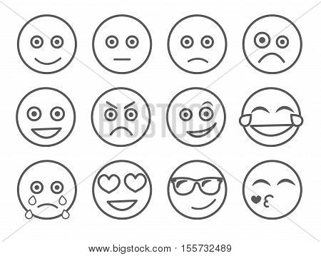 Emoticon vector illustration. Set emoticon face on a white background. Collection emotions Line style. Different emotions collection. Smiles set