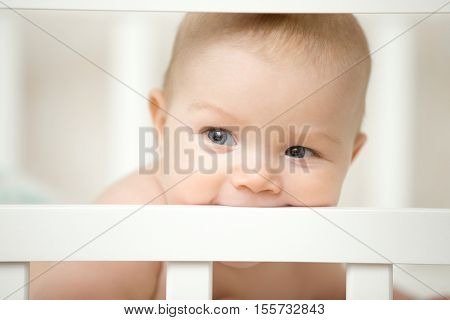 Adorable Baby Biting The Board Of His Wooden Cot