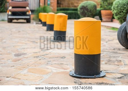 The Road block pole in straight line