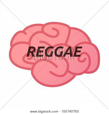 Isolated Brain Icon With    The Text Reggae