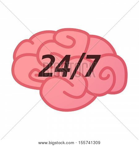 Isolated Brain Icon With    The Text 24/7