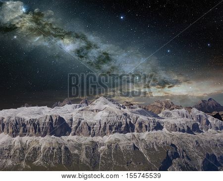 bright milky way on a mountain landscape