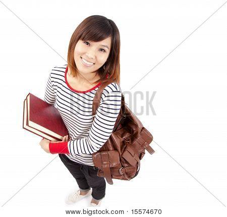 Jovem e sorridente asiáticos estudante universitário com fundo branco