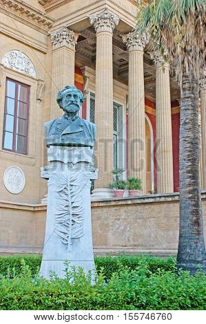 PALERMO ITALY - OCTOBER 2 2012: The bust of Giuseppe Verdi in garden of Teatro Massimo - Opera and Ballet Theater located on the square named after this famous composer on October 2 in Palermo.
