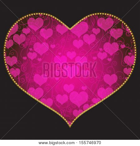 Frame in the shape of heart with floral pattern on black background vector eps10