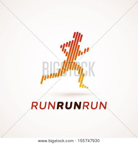 Run logotype. Running man silhouette made out of dynamic lines. Equalizer design style. Could be used as icon or pictogram.