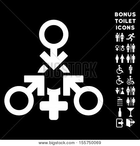 Triple Penetration Sex icon and bonus man and lady toilet symbols. Vector illustration style is flat iconic symbols, white color, black background.
