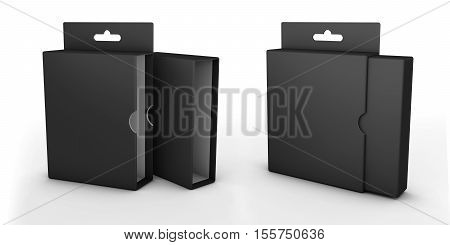 3d illustration of Open box isolated on a white background