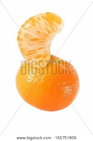 hanging falling hovering and flying tangerine fruits and peeled segment isolated on white background with clipping path