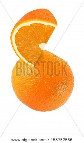 hanging falling hovering and flying piece of orange fruits isolated on white background with clipping path
