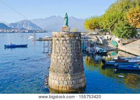 LAKE MAGGIORE, ITALY. 27th OCTOBER 2016. The Harbour at Fisherman's Island, Lake Maggiore. The island is a hub for working fishermen, but the attractions on the Borromean Islands are now closed for the winter season.