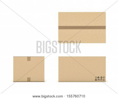 3d rendering of a light beige cardboard mail box taped with duct tape from different foreshortenings isolated on a white background. Postal services. Packing and crating. Storage of different products.