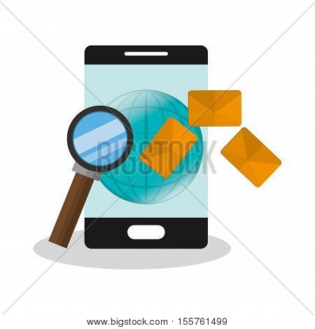 Smartphone lupe and sms icon. Email message marketing media and communication theme. Isolated design. Vector illustration