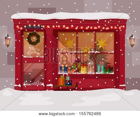 Christmas gift or presents shop or store with advent wreath on door. Winter christmas or xmas, new year shopping mall for family. May be used for holiday christmas shopping or christmas market theme