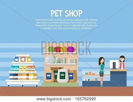 Pet store or shop interior with woman shopping. Aquarium and cat or dog rug at pet store, domestic animal food and pet accessories or supplies. May be used for pet shop banner or store sign
