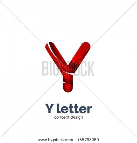 Vector Y letter logo, modern abstract geometric elegant design, shiny light effect. Created with flowing waves