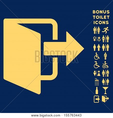 Exit Door icon and bonus gentleman and female toilet symbols. Vector illustration style is flat iconic symbols, yellow color, blue background.