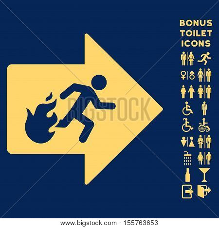 Fire Exit icon and bonus gentleman and female lavatory symbols. Vector illustration style is flat iconic symbols, yellow color, blue background.