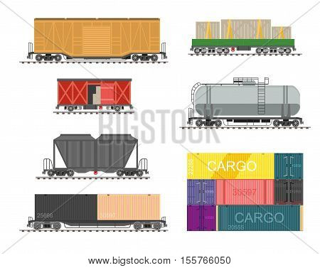 Set of train for delivery cargo. Collection of railway transport, wagons and tanks for railroad. Vector illustration in flat style isolated on white background.