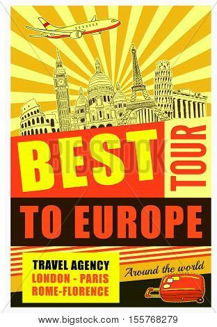 Europe travel poster with advertising of best tour and famous buildings on yellow textured background vector illustration