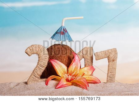 Coconut instead of the number 0 in the amount of 2 017 and the flower in the sand against the sea.