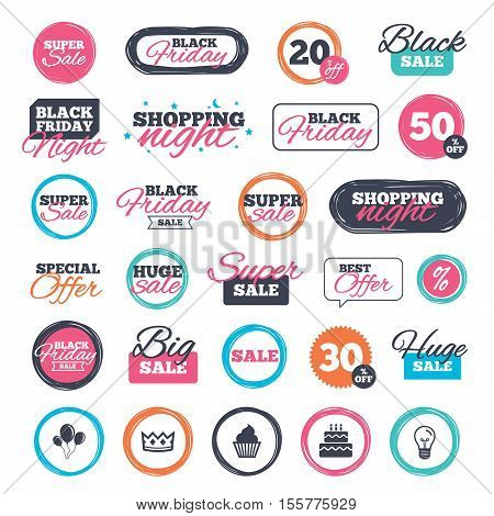 Sale shopping stickers and banners. Birthday crown party icons. Cake and cupcake signs. Air balloons with rope symbol. Website badges. Black friday. Vector
